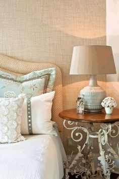 I love the side table (could even paint & distress an outdoor garden table for the look).
