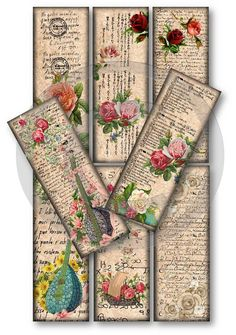 Old Script Bookmarks.  I have some pretty, old book pages that will be perfect for this project!