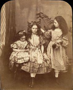 Irene MacDonald, Flo Rankin, and Mary MacDonald at Elm Lodge. Lewis Carroll 1863