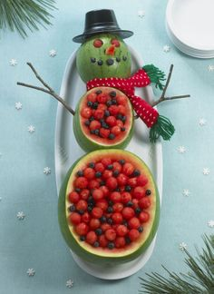 Watermelon Snowman with melon balls and blueberries...EASY! christmas parties, holiday parties, fruit bowls, fruit salads, food, fruit platters, watermelon, fruit displays, fruit trays