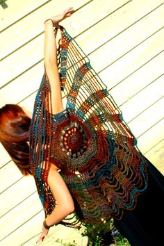 Earth Child crochet spider web vest / mandala by retrotimbre, $48.00