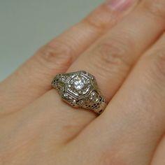 18k 56 ct Diamond Filigree Engagement Ring by goldandgemsllc, $2279.00