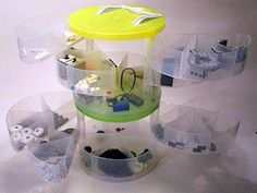 plastic multi-sectioned storage container for LEGO parts