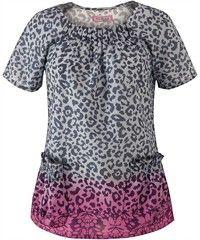 Koi Scrubs Cheetah Chic-Pink Print Top
