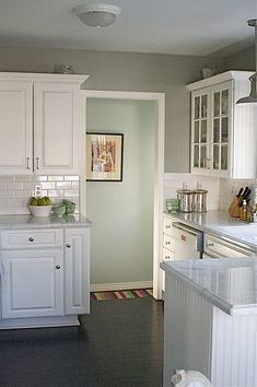grey kitchen walls leading into what looks like silver sage hallway is such an amazing transition i love it! love the mixture of glass and closed cupboards