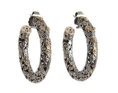 Konstantino 18K Gold and Sterling Silver Floral Hoops