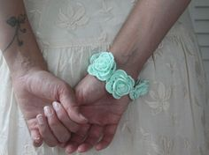 mint green crocheted rose bracelet