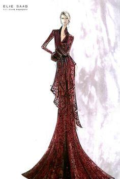 Croquis de moda - Elie Saab fashion sketches
