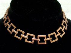 Vintage RENOIR Copper Modernist Geometric Square Link Necklace #Renoir