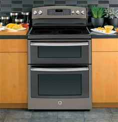 """Cook the perfect summer meal for your next outdoor party in GE 30"""" Free-Standing Electric Double Oven Range."""