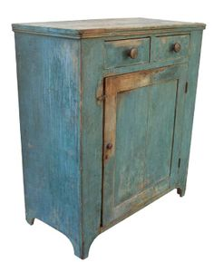 Early 19th century Cupboard with origial dry robin egg blue paint, with two dovetailed drawers over one single panel door