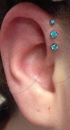 Triple forward helix piercing