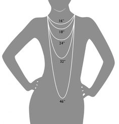 Necklace lengths for easy review.  Wanted to know what length chain to buy, here is a great cheat sheet!