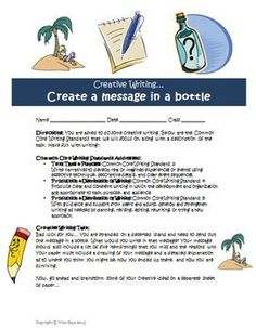 FREE Creative writing idea: Create a message in a bottle!