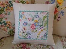 crazy patchwork with vintage linen