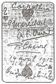 Titanic Card..The two of hearts signed by 3 french men survivors of the sinking Titanic. This picture appeared in the New York Sun April 21, 1912