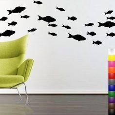 Amazon.com: StikEez Black School of Fish 21-Pack Fun Sizes Wall & Window Decals: Home & Kitchen