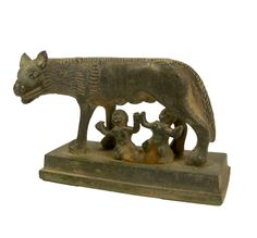 Ancient Roman bronze Romulus and Remus statue.  It shows the legendary twins being nursed by the she-wolf. Very rare piece with fine details. 100-300 C.E.