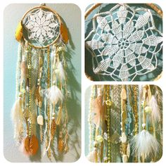 sold. pinned for inspiration // CREAM DREAM: White and Ivory Doily Dream Catcher w Crystals and FREE shipping