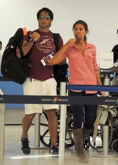 Ana Boyer y Fernando Verdasco, en el aeropuerto de Los Cabos México.