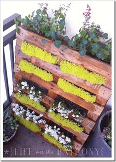 D'Eco: Pallets, pedane e pancali!!!! shipping pallets, herbs garden, pallet gardening, garden design ideas, wood pallets, small space gardening, old pallets, outdoor planters, recycled pallets