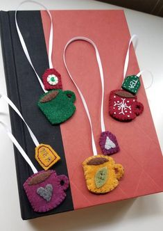Felt Tea Cup Bookmarks - NEEDLEWORK