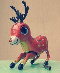 Wind up tin toy rare jumping bambi