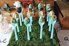 Peanut butter spoons… Fun shower idea! www.abeautifulmess.com