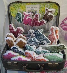 Block Printed Stuffed Animals.