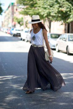 white tank + gray sheer maxi + panama hat