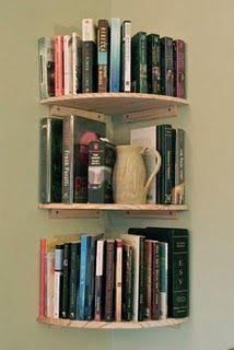 corner wall bookshelves $8.50 each shelf at the Home Depot.