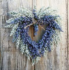 blue, heart shapes, front doors, dried flowers, spring wreaths, hostess gifts, natural looks, summer wreath, heart wreath