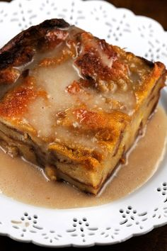 Spiced Pumpkin Bread Pudding with Maple Glaze