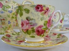 chintz rose pattern cup & saucer