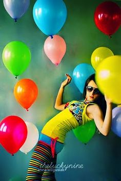 parti girl, balloon galor, helium balloons, color splash, rainbow colors