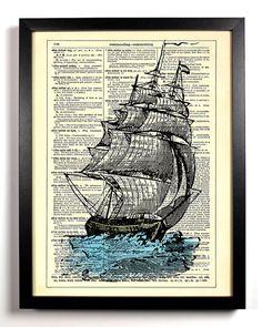 Repurposed Dictionary Page Ship Art Print