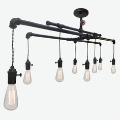 Industrial Custom Rustic Pipe and Cloth Cord Chandelier- 8 Light