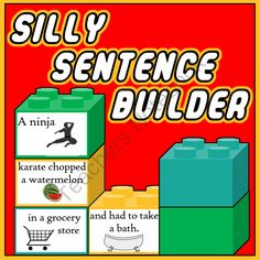 Silly Sentence Builder - Reading & Writing Fun Sentences from TheSpeechstress on TeachersNotebook.com -  (31 pages)  - A gameboard and deck of fun cards, categorized by Character, Setting, Event, & Conclusion, which can be used in a variety of games to construct sentences.