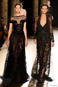 elie saab fall 2012 couture black lace dresses  LOVE Elie Saab!