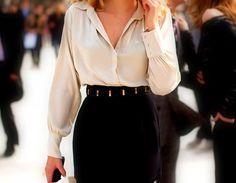 Satin blouse pencil skirt