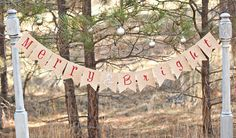 This Merry & Bright burlap christmas banner measures 5 foot long and is the perfect size for you wall or mantle. 5 x 6 inch W shaped pennants