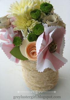 Paper, Fabric and Fresh Flower Centerpieces