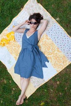 wrap dresses, dress patterns, blouses, sewing machines, sunday picnic, sweet dress, sew pattern, picnic blous, sewing patterns