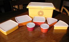 Vintage Tupperware Sunny Yellow Picnic Set