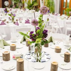 Alliums are the focal point of this centerpiece