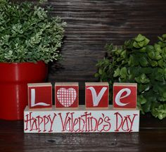 Valentine's Day Decor Personalized Wood Heart by BlocksOfLove1, $4.99