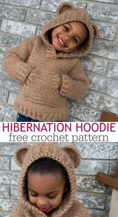 Have I mentioned that I am in LOVE with the Hibernation Hoodie?! The CHILD sizes are free crochet patterns! Make one for yourself and your little one. via @ashlea729