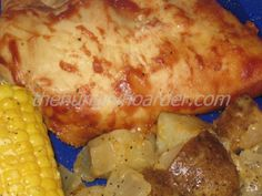 Crock-Pot BBQ Chicken Meal - Now this is my idea of a great crock-pot meal. It's like baked chicken, fried potatoes and steamed corn on the cob.  The ingredients and instructions are per serving, so adjust accordingly.