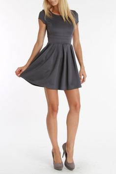 Romeo and Juliet Couture Casandra Knit Dress In Charcoal -a little short, but I like the feminine styling