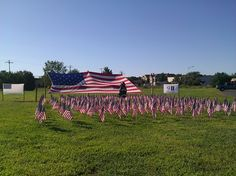 A temporary memorial with a field of flags at the South Wall Fire Rescue in New Jersey. (September 11, 2012) #honor911